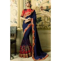 Paaneri Designer Navy Blue Color Embroidery Border Stone Work Silk Georgette Saree-Product Code-17102770211