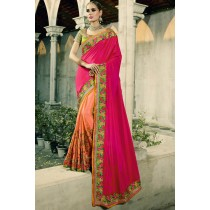 Paaneri Designer Shaded Rani With Light Salmon Color Thread Work Embroidery Border Silk Georgette Saree-Product Code-17102770511
