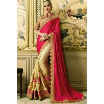 Paaneri Desgner Half & Half Red With Beige Color Embroidery Border Floral Print Silk Georgette Saree-Product Code-17102770711
