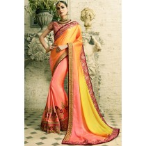 Paaneri Designer Orange With Pink Color Thread Work Floral Print Silk Saree-Product Code-17102770811