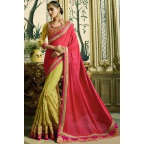 Paaneri Designer Half & Half Red With Mehndi Color Embroidery Border Thread Work Silk Georgette Saree -Product Code-17102771011
