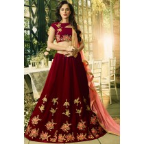 Paaneri Designer Maroon Color Girlish Partywear Indowestern Velvet Stich Lehenga With Net Pallu-Product Code-17119040902