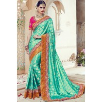 Paaneri Designer Sky Blue Color Floral Print Embroidery Border Art Silk Saree-Product Code-17119090206