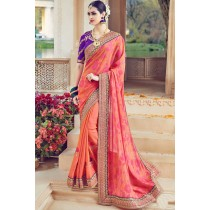 Paaneri Designer Peach Color Floral Print Embroidery Border Art Silk Saree-Product Code-17119090306