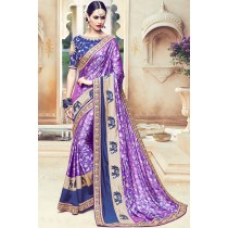 Paaneri Designer Purple Color Floral Print Art Silk Saree-Product Code-17119090506