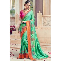 Paaneri Designer Sea Green Color Floral Print Border Art Silk Saree -Product Code-17119090706