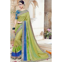 Paaneri Designer Light Green Color Embroidery Border Art Silk Saree-Product Code-17119090906