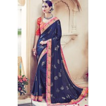 Paaneri Designer Navy Blue Color Peacock Print Art Silk Saree-Product Code-17119091006