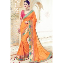 Paaneri Designer Orange Color Floral Print Border Art Silk Saree-Product Code-17119091106