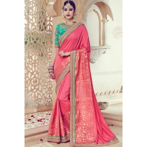 Paaneri Designer Pink Color Floral Embroidery Border Art Silk Saree -Product Code-17119091206