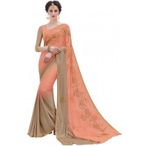 Paaneri Designer Peach With Rust Color Floral Print Satin & Georgette Saree-Product Code-17119100103