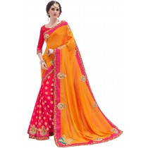 Paaneri Designer Shaded Yellow With Pink Color Floral Print Raw Silk & Georgette Saree-Product Code-17119100403
