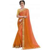 Paaneri Designer Orange Color Embroidery Border Stone Work sIilk Chiffon Saree-Product Code-17119100903