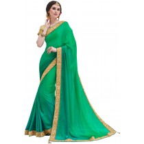 Paaneri Designer Green Color Embroidery Border Silk Georgette Saree-Product Code-17119101103
