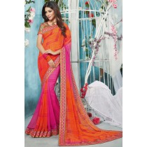 Paaneri Designer Orange Color Embroidery Georgette Printed Saree-Product Code-17119210607