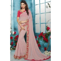 Paaneri Designer Pink Color Embroidery Border Georgette Printed Saree-Product Code-17119211007