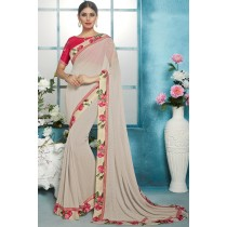 Paaneri Designer Off White Color Floral Print Georgette Printed Saree-Product Code-17119211407