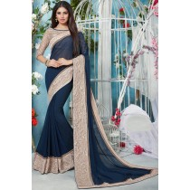 Paaneri Designer Navy Blue Color Georgette Printed Saree With Lace Border-Product Code-17119211807