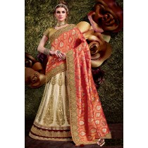 Paaneri Designer Shaded Red With Cream Color Stone Work Embroidery Border Banarasi Silk & Net Lehnga Saree With Foil Print Pallu-Product Code-17119440104