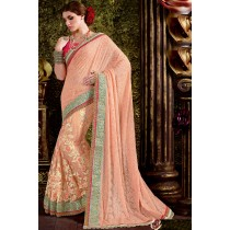 Paaneri Designer Peach Color Floral Print Zari Border Fancy Net Saree-Product Code-17119440304