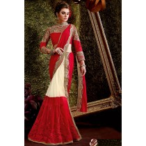 Paaneri Designer Shaded Red With Cream Color Stone Work Embroidery Border Net & Raw Silk Saree-Product Code-17119440404