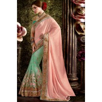 Paaneri Designer Half & Half Peach With Mint Blue Color Floral Thread Embroidery Border Net & Art Silk Saree-Product Code-17119440504