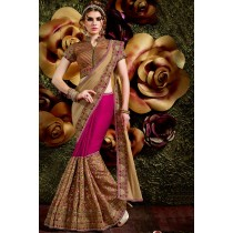 Paaneri Designer Shaded Dark Gold With Deep Pink Color Embroidery Net & Art Silk Saree-Product Code-17119440804