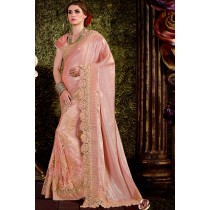 Paaneri Designer Peach Color Floral Print Zari Border Net & Art Silk Saree-Product Code-17119440904