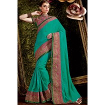 Paaneri Designer Rama Green Color Embroidery Border Raw Silk Saree-Product Code-17119441004