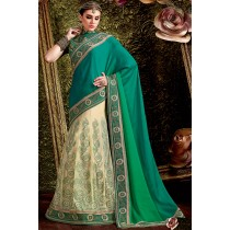 Paaneri Designer Green With Cream Color Floral Print Art Silk & Net Lehenga Saree -Product Code-17119441204