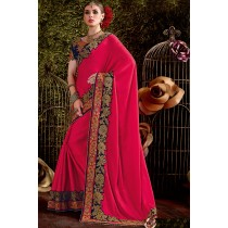 Paaneri Designer Red Color Floral Embroidery Border Silk Georgette Saree-Product Code-17119441304
