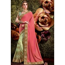 Paaneri Designer Half & Half Light Green With Pink Color Embroidery Border Net & Art Silk Saree -Product Code-17119441704