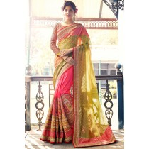 Paaneri Designer Half & Half Light Yellow With Deep Pink Color Net & Art Silk Saree With Stone Work Pallu-Product Code-17119700301