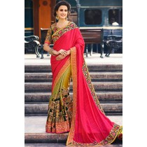 Paaneri Designer Shaded Pink With Mehndi Color Embroidery Work Art Silk Saree With Floral Zari Border Pallu-Product Code-17119700401