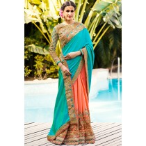 Paaneri Designer Shaded Sky Blue With Peach Color Art Silk & Georgette Saree With Embroidery Border Pallu-Product Code-17119700501