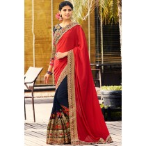 Paaneri Designer Shaded Navy Blue With Red Color Floral Embroidery Georgette & Viscos Saree With Zari Border Pallu-Product Code-17119700601