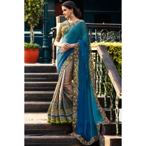 Paaneri Designer Shaded Blue With Ash Grey Color Embroidery Georgette & Art Silk Saree With Zari Border Work Pallu-Product Code-17119700701