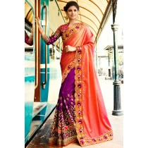 Paaneri Designer Shaded Purple With Peach Color Embroidery Jaquard Silk & Art Silk Saree With Embroidery Border Pallu-Product Code-17119700801