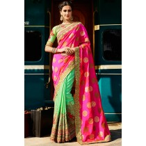 Paaneri Designer Half & Half Pink With Aquamarine Color Foil Art Silk & Bhagalpuri Silk Saree With Embroidery Border Pallu-Product Code-17119701201