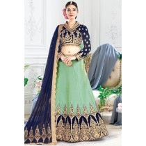 Paaneri Designer Navy Blue With Light Green Color Thread Work Raw Silk Unstich Lehenga With Shimmer Pallu-Product Code-17119710105