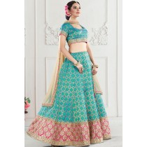 Paaneri Designer Sky Blue With Beige Color Thread Stone Work Banarasi Silk Unstich Lehenga With Net Pallu-Product Code-17119710305