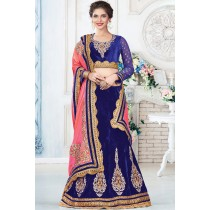 Paaneri Designer Blue With Pink Color Zari Border Velvet Unstich Lehenga With Net Pallu-Product Code-17119710605