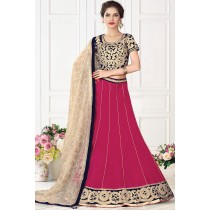 Paaneri Designer Cream With Deep Pink Color Raw Silk Unstich Lehenga With Net Pallu-Product Code-17119710805