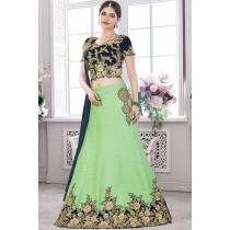 Paaneri Designer Light Green With Rama Green Color Flroal Print Border Raw Silk Unstich Lehenga With Net Pallu-Product Code-17119710905