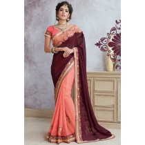 Paaneri Designer Half & Half Maroon With Pink Color Embroidery Work Georgette Printed Saree-Product Code-17119885310