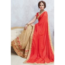 Paaneri Designer Half & Half Red With Tan Color Silk Georgette Saree-Product Code-17119885410
