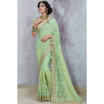 Paaneri Designer Half & Half Dark Sea Green Color Thread Work Border Georgette Printed Saree-Product Code-17119885510
