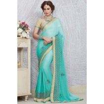 Paaneri Designer Aquamarine Color Stone Work Embroidery Border Georgette Printed Saree-Product Code-17119885910
