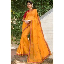 Paaneri Designer Super Net Orange color with Floral Print Embroidery Border Saree-Product Code-17120006716
