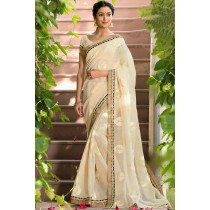 Paaneri Designer Beige Color Embroidery Border Super Net Saree-Product Code-17120006816